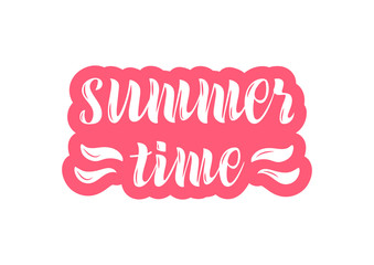 Hand drawn lettering phrase Summer time
