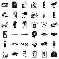 Audioplayer icons set. Simple style of 36 audioplayer vector icons for web isolated on white background