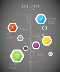 Infographic colorful milestones time line vector template with icons.
