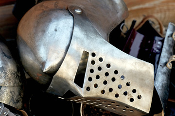 Helmet and medieval armor, made for knights of that time.