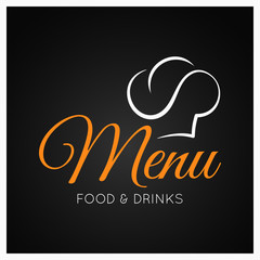 food and drinks menu with chef hat on black background