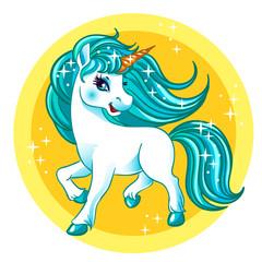 Little fantasy white unicorn with blue hair.