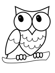 Owl. The big-eyed owl sits on a branch. Sweet owl on a branch. Children's drawing. Line drawing for coloring