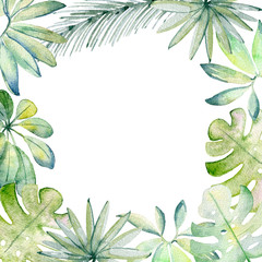 Frame. Watercolor Tropical green leaves on the white background