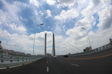 View of dongting lake river cable-stayed bridge