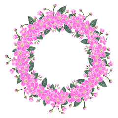 Cover template with a wreath of flowers for brochures, posters, banners, postcard.