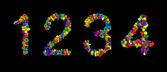 Kids toys colorful 3D font isolated on black background. Multicolored numbers set made of funny geometric shapes. Numbers 1, 2, 3, 4.