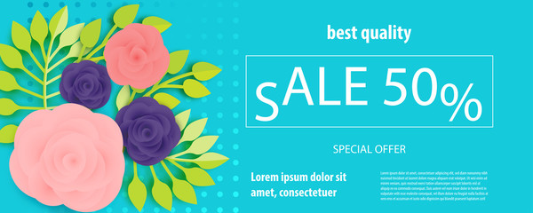 Horizontal paper cut flower ultraviolet sale banner. Colored rose bud origami isolated vector background. Floral discount design. Craft 3d plant eco card template.