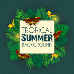 Floral tropical summer background with palm leaves, jungle leaf and colorful butterflies.