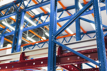 Large warehouse metal shelving.