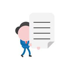 Vector businessman character walking and holding written paper