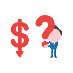 Vector businessman character with dollar arrow moving down and holding question mark