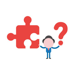 Vector businessman character holding missin jigsaw puzzle piece and question mark
