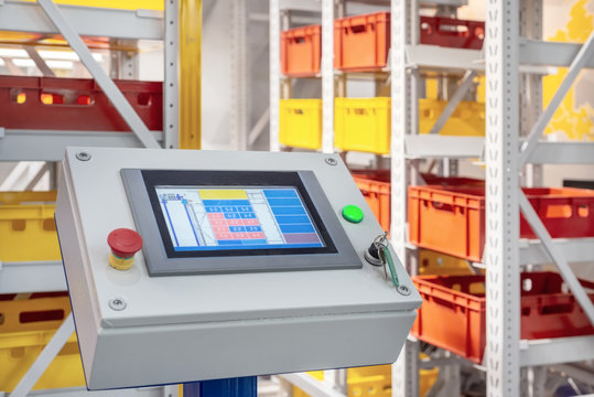 Automated warehouse control panel.