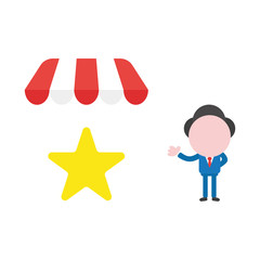 Vector businessman character with star under shop store awning