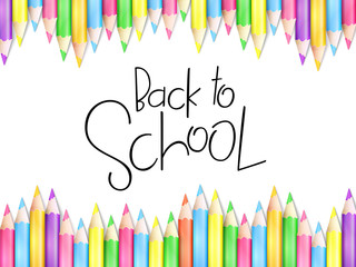 Vector illustration with design template for Back to school event banner with pencils and Back to School hand lettering text