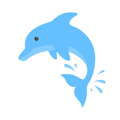 Jumping dolphin and a splash of water. Cute blue dolphin in cartoon style. Vector illustration for swimming pool brochure or banner. Isolated