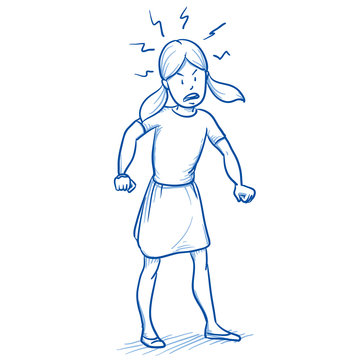 Young girl looking furious with her hands clenched fists. Hand drawn cartoon doodle vector illustration.