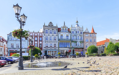Tczew in Gdansk Pomerania - historic tenement houses at Haller Square that plays  role of old town market square