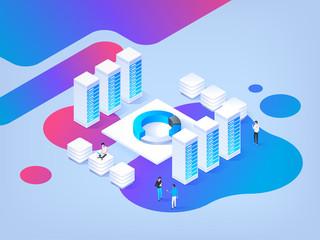 Abstract isometric illustration. High technology concept. Data center.