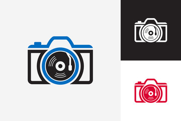 Music Camera Logo Template Design Vector, Emblem, Design Concept, Creative Symbol, Icon