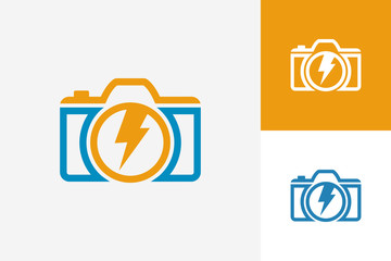 Electric Power Camera Logo Template Design Vector, Emblem, Design Concept, Creative Symbol, Icon