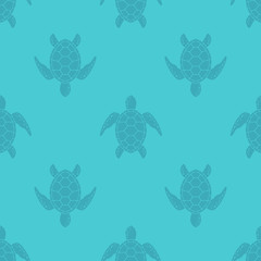 Vector pattern with sea turtle. Blue texture with turtle silhouette.