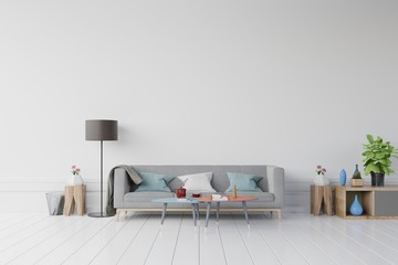 Gray sofa and wooden table with Flower,coffee,book on empty wall in simple living room interior,3d rendering
