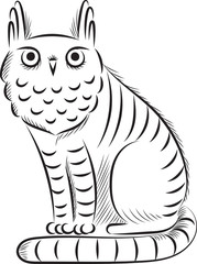 cat-owl. graphic illustration of a fantastic animal