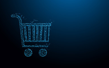 Shopping Cart form lines, triangles and particle style design. Illustration vector