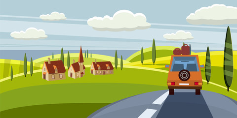Summer trip vector illustration space for your text. Car trip to camp, tourism concept. Vector, illustration, isolated