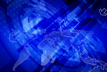 Computer world map network digital communication. Abstract technology data concept background.