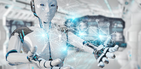 White woman cyborg using digital network connection 3D rendering