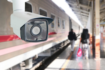 CCTV surveillance camera at railway station.Security system camera for protecting people from crime.Privacy monitor equipment in for police monitoring people in subway station.
