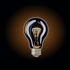Business idea. The electric light is on. Energy saving. Sale of light bulbs. Suggest an idea. Color badge, banner. Vector images