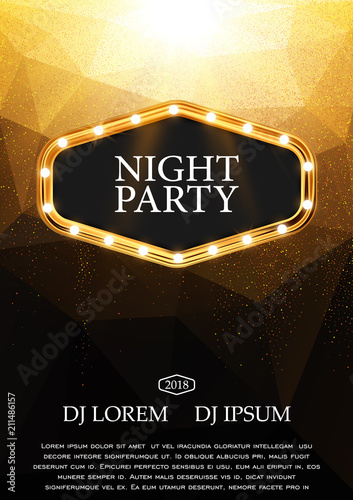 night party flyer template design gold and black vector background