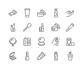 Simple Set of Cosmetics Related Vector Line Icons. Contains such Icons as Cream Bottle, Lipstick, Makeup Brush and more. Editable Stroke. 48x48 Pixel Perfect.