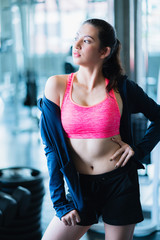 happiness healthy fit and firm girlfriend enjoy meeting with fun talk after workout in gym