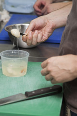 Cooks preparing a salad of seafood