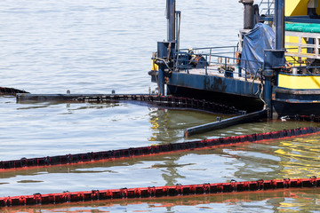 oil-spill response vessel cleaning pollution in the water
