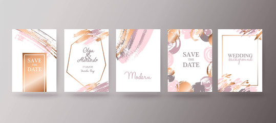 Gold, pink brochure, flyer, invitation, card