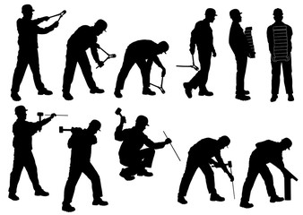 Silhouettes of man working with bricks, pliers, hammer, whipsaw.