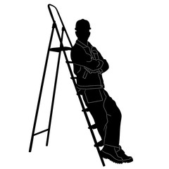 Silhouette of worker with stepladder.