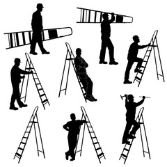 Set of silhouettes of worker with stepladder.