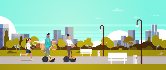 urban park outdoors activities man woman riding gyroscooter running nature city buildings street lamps cityscape horizontal banner flat vector illustration