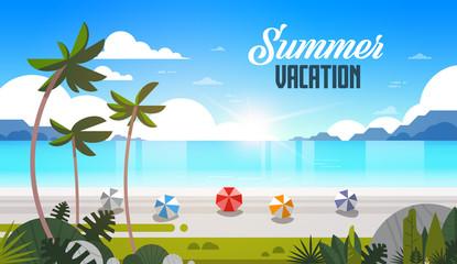 sunrise tropical palm beach balls view summer vacation seaside sea ocean flat horizontal lettering vector illustration