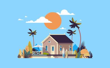 big summer villa house umbrella surf board sunset palm trees greeting card poster template flat vector illustration