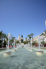 Cádiz, Spain - June 21, 2018: Detail of the fountains in the Plaza de San Juan de Dios in Cádiz.