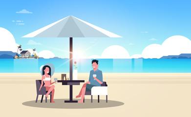 couple summer vacation man woman drink wine umbrella on sunrise beach villa house tropical island horizontal flat vector illustration