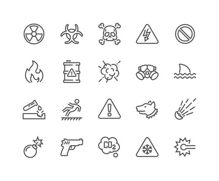 Simple Set of Warnings Related Vector Line Icons. Contains such Icons as Toxic, Explosive, Flammable and more. Editable Stroke. 48x48 Pixel Perfect.